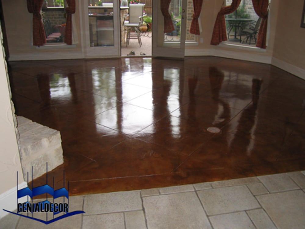 Sala hermoso piso oxidado cartab n genialdecor for Decoracion para pisos