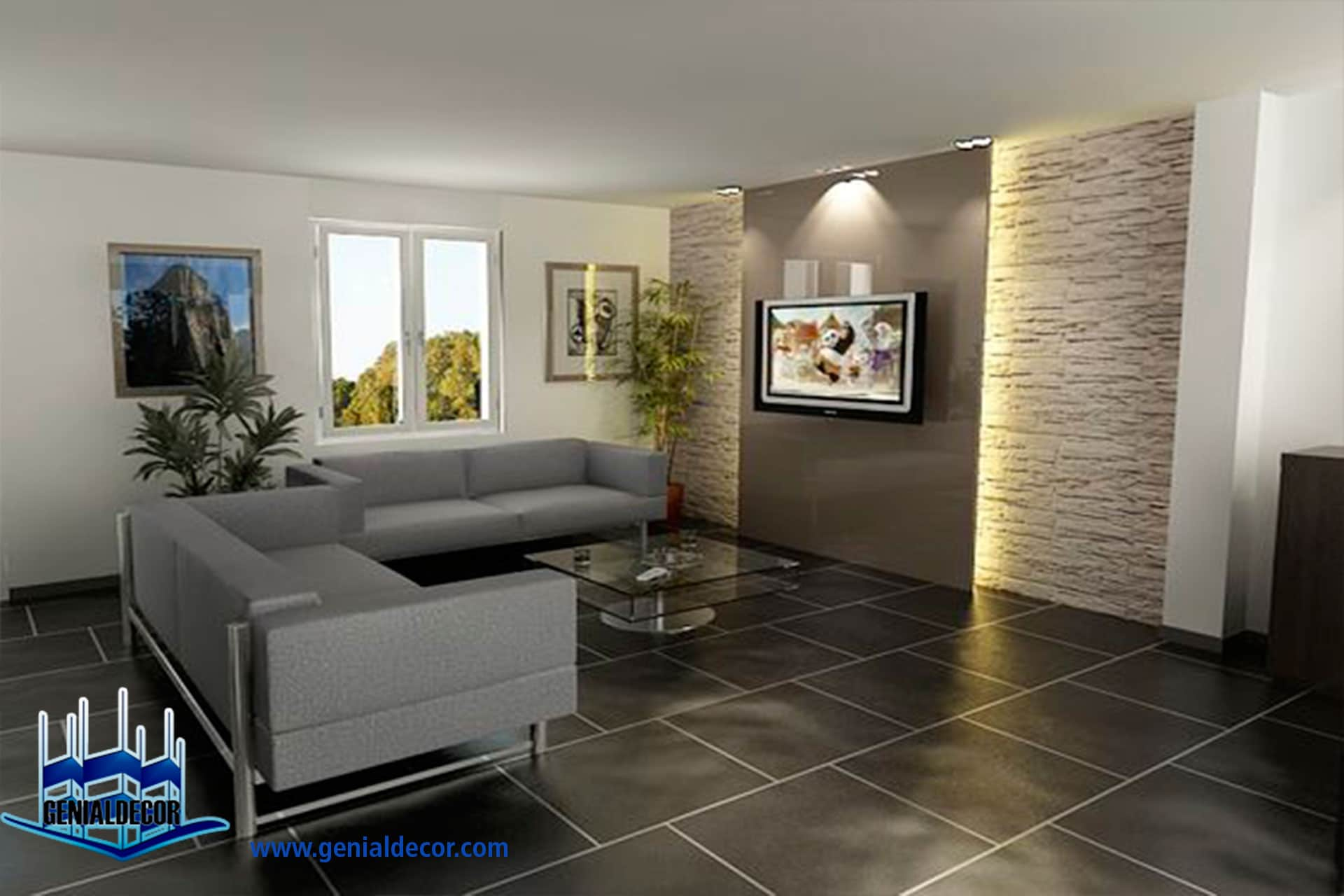 Tips para la decoraci n de centro de entretenimiento genialdecor - Briquette decorative interieure ...